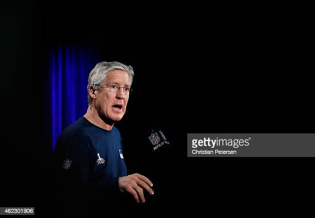 Head coach Pete Carroll of the Seattle Seahawks speaks during a Super Bowl XLIX media availability at the Arizona Grand Hotel on January 26, 2015 in...