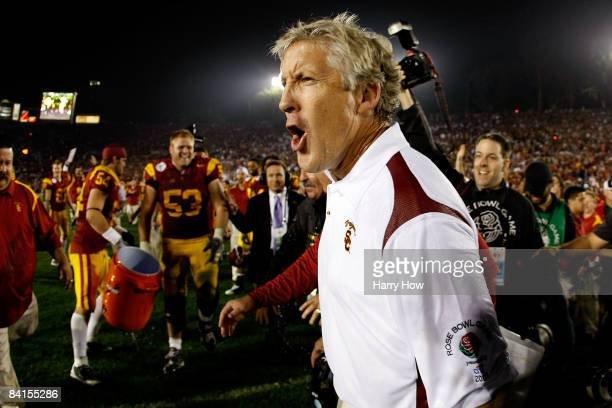 Head coach Pete Carroll of the USC Trojans celebrates after defeating the Penn State Nittany Lions at the 95th Rose Bowl Game presented by Citi on...