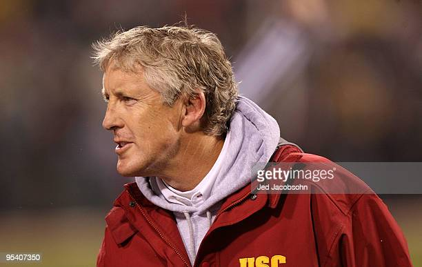Head coach Pete Carroll of the USC Trojans celebrates against the Boston College Eagles during the 2009 Emerald Bowl at AT&T Park on December 26,...