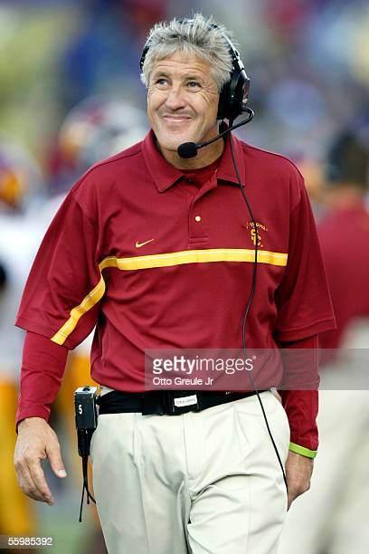 Head coach Pete Carroll of the USC Trojans looks up at the scoreboard in the second half against the Washington Huskies on October 22, 2005 at Husky...
