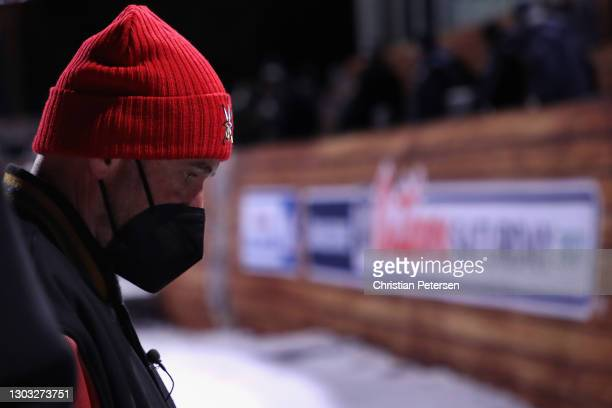 Head coach Pete DeBoer of the Vegas Golden Knights walks to the locker room after being defeated by the Colorado Avalanche in the 'NHL Outdoors At...