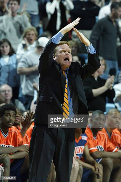Head Coach Pete Gillen of the University of Virginia Cavaliers calls a timeout against the University of North Carolina at Chapel Hill Tar Heels...