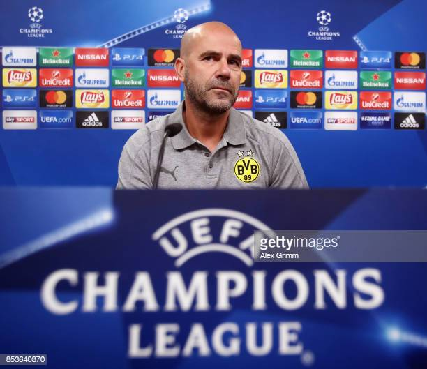 Head coach Peter Bosz attends a Borussia Dortmund press conference ahead of their UEFA Champions League Group H match against Real Madrid at Signal...