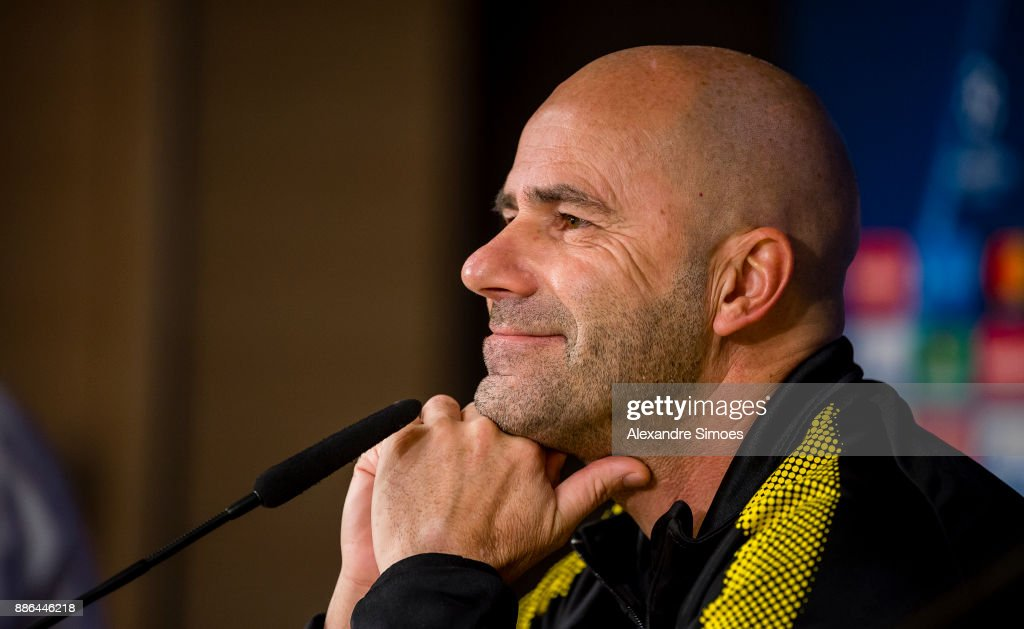 Head coach Peter Bosz of Borussia Dortmund at the press conference prior to the UEFA Champions League match between Real Madrid and Borussia Dortmund on December 05, 2017 in Madrid, Spain.