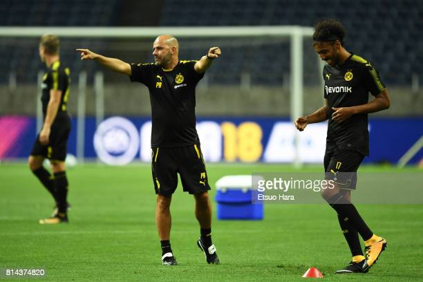 Head coach Peter Bosz of Borussia Dortmund during a training session ahead of the friendly match against Urawa Red Diamonds at Saitama Stadium on...