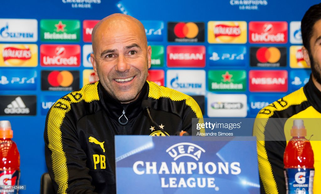 Head coach Peter Bosz of Borussia Dortmund during the press conference prior to the UEFA Champions League: First Qualifying Round 1st Leg match between Tottenham Hotspur and Borussia Dortmund at Wembley Stadium on September 12, 2017 in London, United Kingdom.