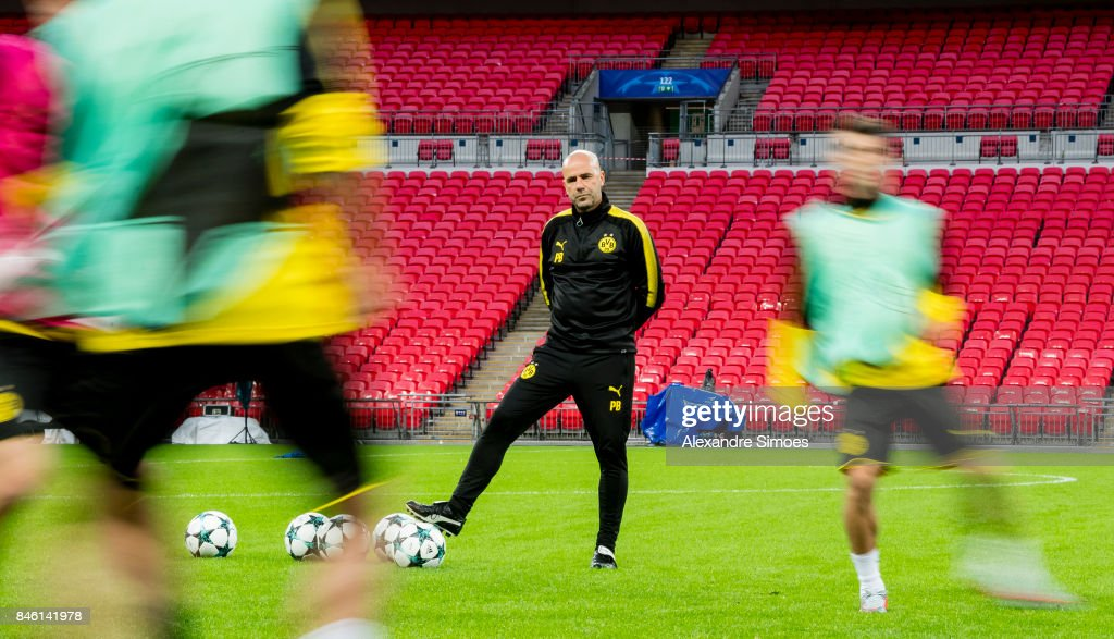 Head coach Peter Bosz of Borussia Dortmund during the training session prior to the UEFA Champions League: First Qualifying Round 1st Leg match between Tottenham Hotspur and Borussia Dortmund at Wembley Stadium on September 12, 2017 in London, United Kingdom.