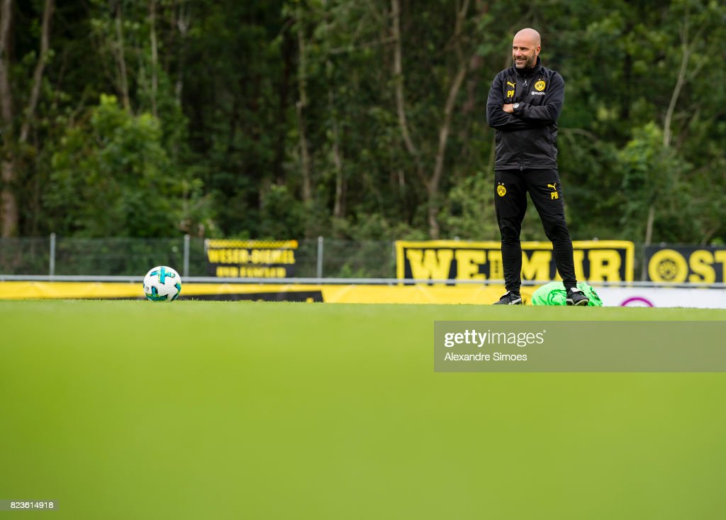 Head coach Peter Bosz of Borussia Dortmund in action during a training session as part of the training camp on July 27, 2017 in Bad Ragaz, Switzerland.