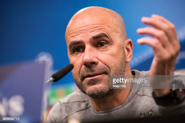 Head coach Peter Bosz of Borussia Dortmund speaks during the Press Conference prior the UEFA Champions League group H match between Borussia Dortmund...