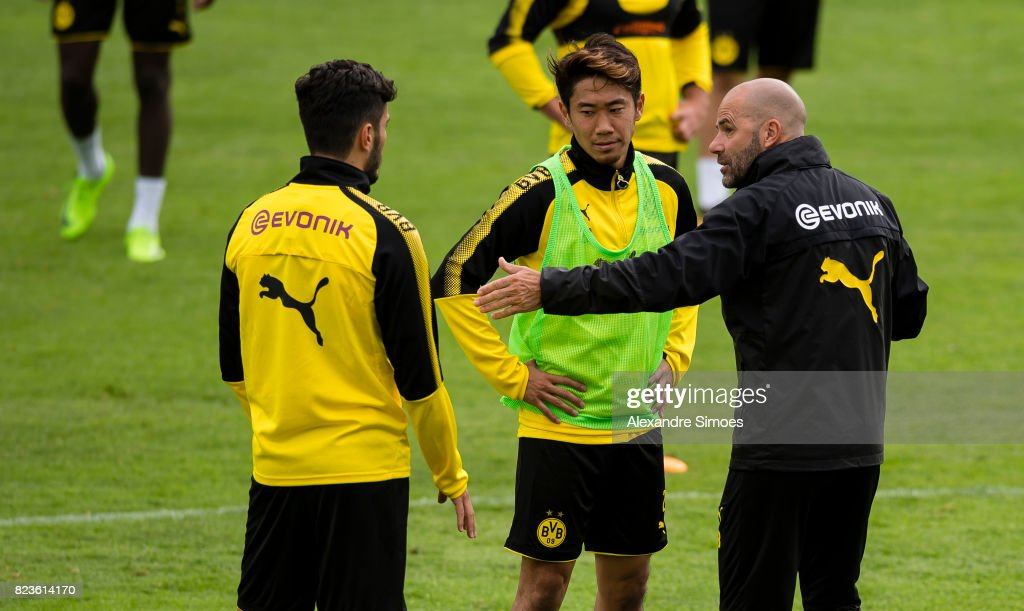 Head coach Peter Bosz of Borussia Dortmund together with Nuri Sahin and Shinji Kagawa during a training session as part of the training camp on July 27, 2017 in Bad Ragaz, Switzerland.