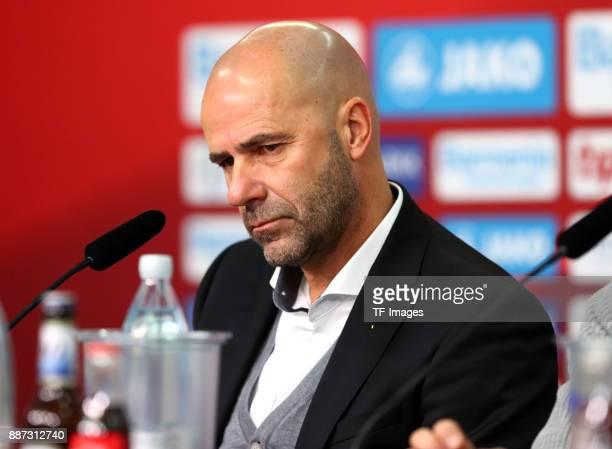 Head coach Peter Bosz of Dortmund attends a press conference after the Bundesliga match between Bayer 04 Leverkusen and Borussia Dortmund at BayArena...