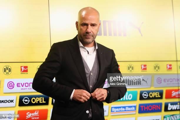 Head coach Peter Bosz of Dortmund leaves the press conference after the Bundesliga match between Borussia Dortmund and FC Schalke 04 at Signal Iduna...