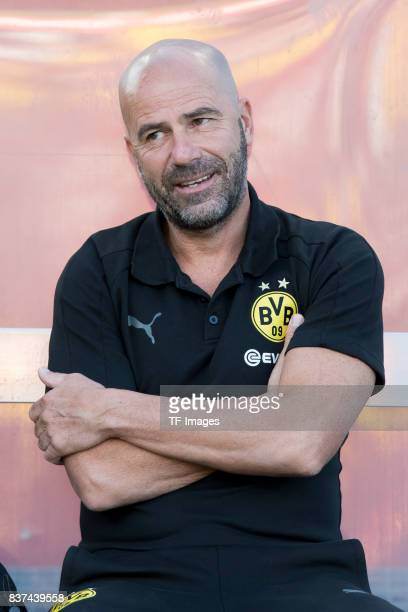 Head coach Peter Bosz of Dortmund looks on during a friendly match between Espanyol Barcelona and Borussia Dortmund as part of the training camp on...