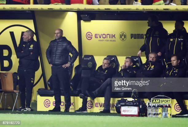 Head coach Peter Bosz of Dortmund looks on during the Bundesliga match between Borussia Dortmund and FC Schalke 04 at Signal Iduna Park on November...