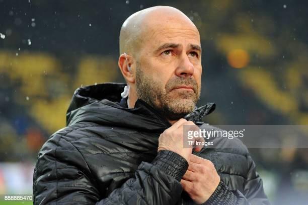Head coach Peter Bosz of Dortmund looks on prior to the Bundesliga match between Borussia Dortmund and SV Werder Bremen at Signal Iduna Park on...