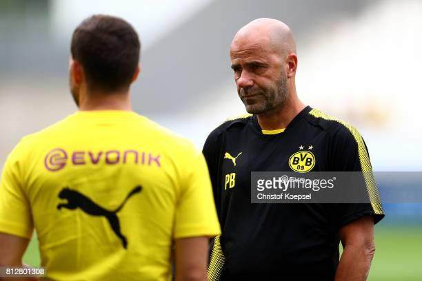 Head coach Peter Bosz of Dortmund looks on prior to the preseason friendly match between RotWeiss Essen and Borussia Dortmund at Stadion Essen on...