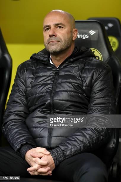 Head coach Peter Bosz of Dortmund looks thoughtful during the Bundesliga match between Borussia Dortmund and FC Schalke 04 at Signal Iduna Park on...