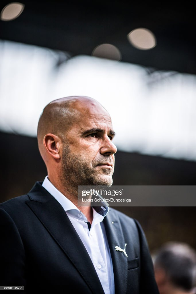 Head Coach Peter Bosz of Dortmund looks up prior to the Bundesliga match between Borussia Dortmund and Hertha BSC at Signal Iduna Park on August 26, 2017 in Dortmund, Germany.