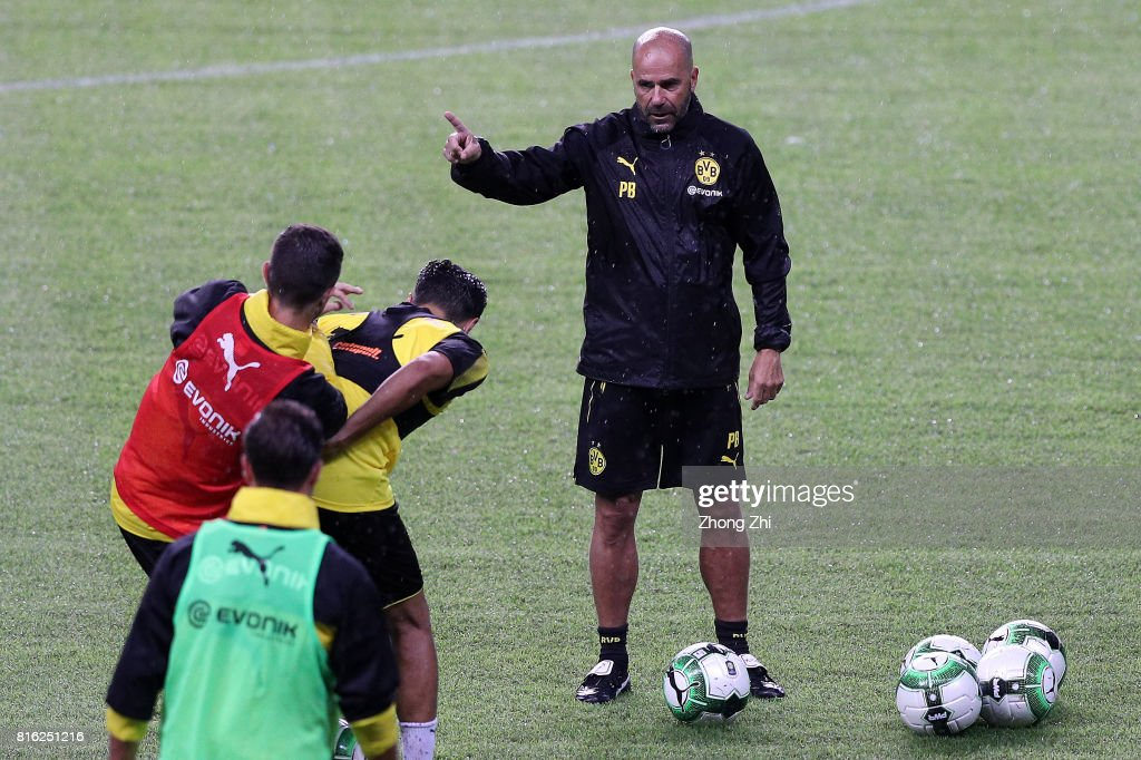 Head coach Peter Bosz of Dortmund reacts duirng training session ahead of the 2017 International Champions Cup football match between AC Milan and Borussia Dortmund at University Town Sports Centre Stadium on July 17, 2017 in Guangzhou, China.