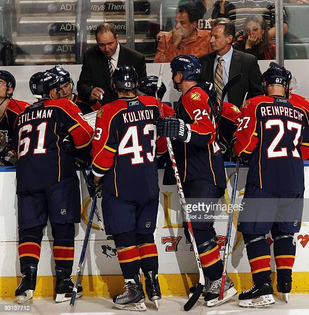 Head Coach Peter DeBoer of the Florida Panthers and Assistant Coach Mike Kitchen direct their team against the Los Angeles Kings at the BankAtlantic...