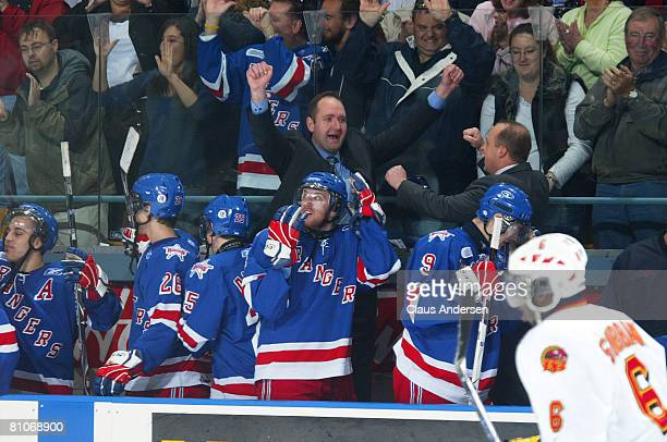 Head coach Peter DeBoer of the Kitchener Rangers shows his emotion at the end of the game as the Rangers defeated the Belleville Bulls on May 12 2008...