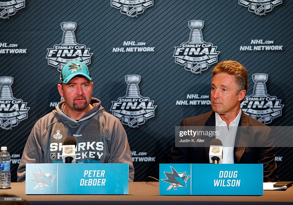 Head coach Peter DeBoer of the San Jose Sharks and General Manager Doug Wilson address the media during the NHL Stanley Cup Final Media Day at Consol Energy Center on May 29, 2016 in Pittsburgh, Pennsylvania.