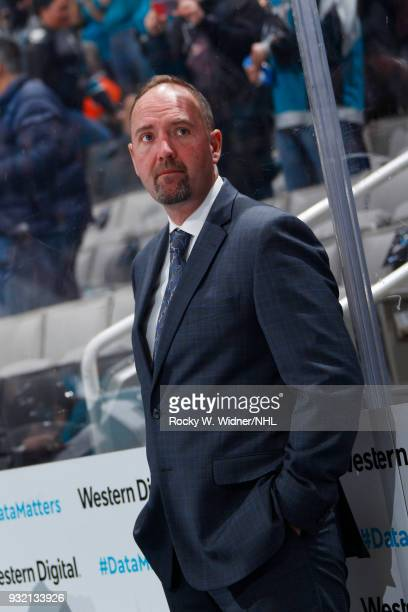 Head coach Peter DeBoer of the San Jose Sharks looks on during the game against the St Louis Blues at SAP Center on March 8 2018 in San Jose...