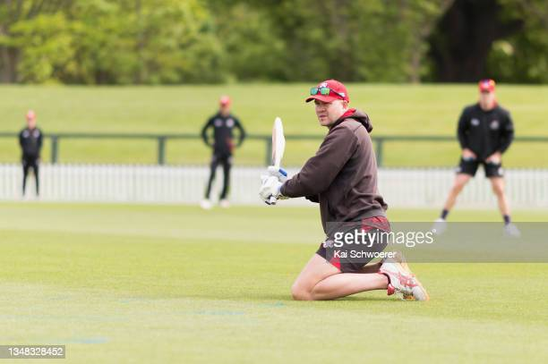 Head Coach Peter Fulton of Canterbury warms up during the Plunket Shield match between Canterbury and Central Stags at Hagley Oval on October 24,...