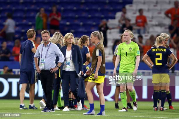 Head coach Peter Gerhardsson of Sweden reacts after the 2019 FIFA Women's World Cup France Semi Final match between Netherlands and Sweden at Stade...