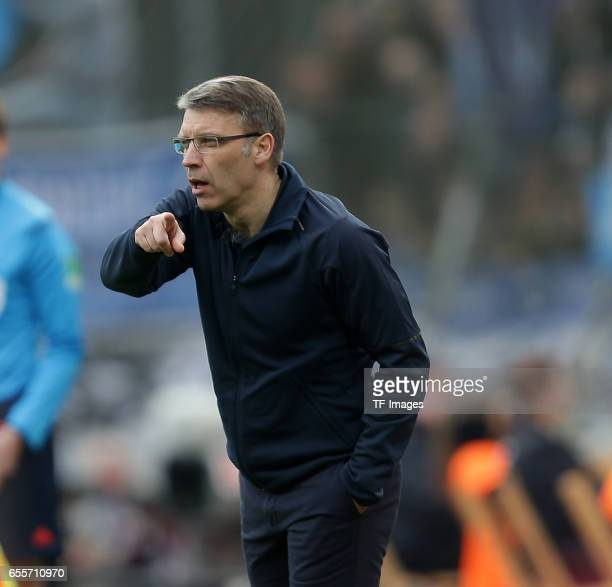 Head coach Peter Knaebel of Hamburg gestures during the Bundesliga match between Bayer 04 Leverkusen and Hamburger SV at BayArena on April 4, 2015 in...