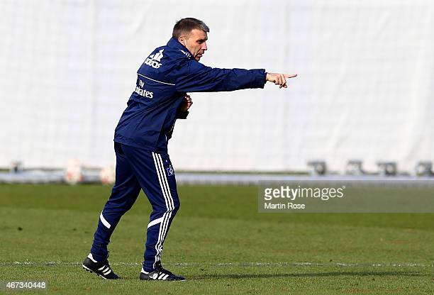Head coach Peter Knaebel of Hamburg gestures during the of Hamburger SV training session on March 23, 2015 in Hamburg, Germany.