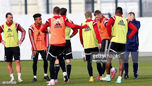 Head coach Peter Knaebel of Hamburg reacts during the of Hamburger SV training session on March 23, 2015 in Hamburg, Germany.