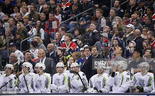 Head coach Peter Laviolette of the Nashville Predators and Team Toews looks on from the bench against Team Foligno during the 2015 Honda NHL AllStar...