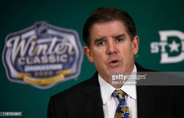 Head Coach Peter Laviolette of the Nashville Predators attends a post game press conference after the 2020 Bridgestone NHL Winter Classic between the...