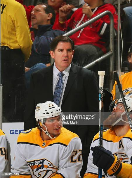 Head coach Peter Laviolette of the Nashville Predators looks on against the New Jersey Devils during the game at Prudential Center on January 25 2018...