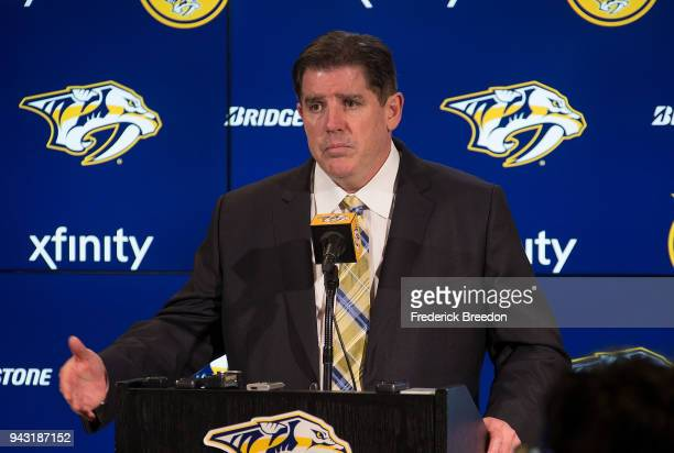 Head coach Peter Laviolette of the Nashville Predators speaks to the media after a 4-2 victory over the Columbus Blue Jackets to close out the...