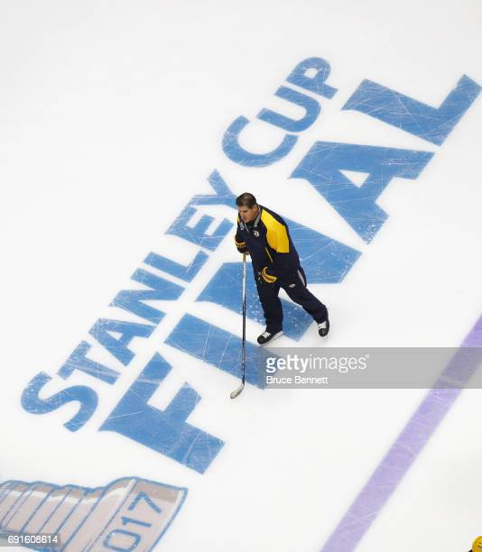 Head coach Peter Laviolette of the Nashville Predators takes part in a practice session during the 2017 NHL Stanley Cup Finals at Bridgestone Arena...