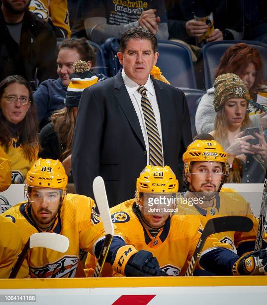 Head coach Peter Laviolette of the Nashville Predators watches the action against the St. Louis Blues at Bridgestone Arena on November 21, 2018 in...