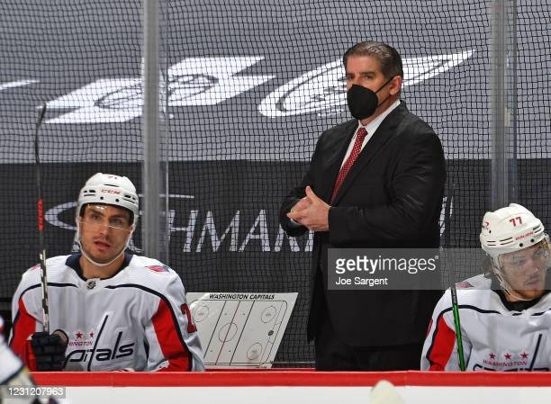 Head coach Peter Laviolette of the Washington Capitals looks on against the Pittsburgh Penguins at PPG PAINTS Arena on February 16, 2021 in...