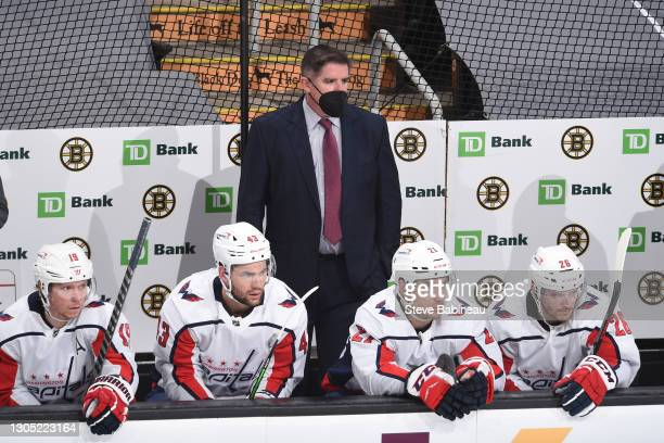 Head coach Peter Laviolette of the Washington Capitals watches the third period against the Boston Bruins at the TD Garden on March 3, 2021 in...