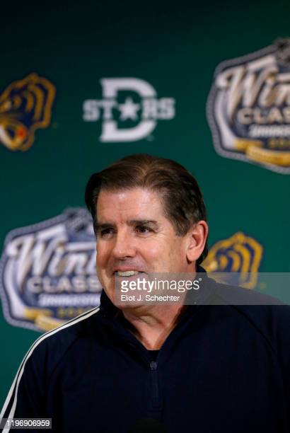 Head coach Peter Laviolette speaks to the media after practice ahead of the 2020 Bridgestone NHL Winter Classic at Cotton Bowl on December 31, 2019...