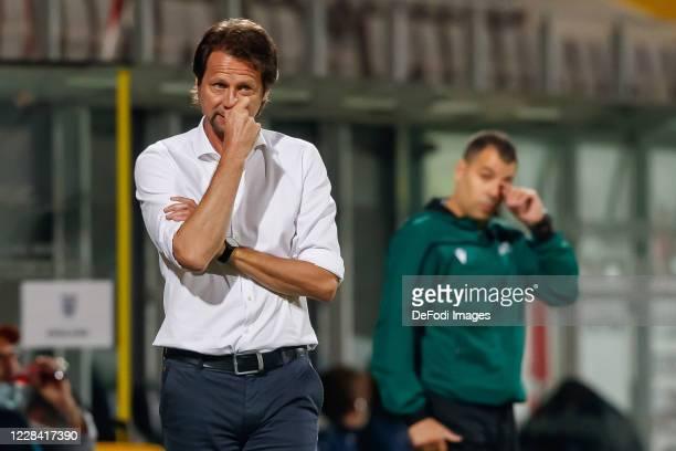 head coach Peter Schoettel of Austria looks on during the UEFA Euro Under 21 Qualifier match between Austria U21 and England U21 at Keine Sorgen...