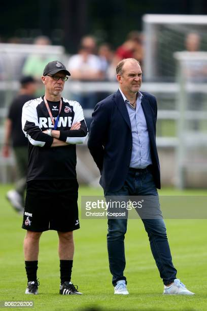 Head coach Peter Stoeger and manager Joerg Schmadtke attend the training session of 1 FC Koeln at RheinEnergieSportpark on July 3 2017 in Cologne...