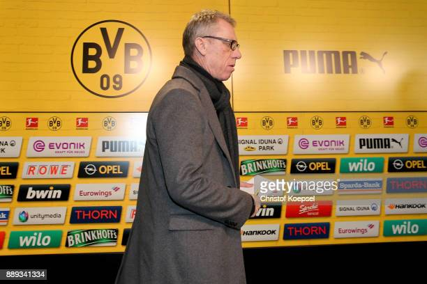 Head coach Peter Stoeger is presented as the new head coach of Borussia Dortmund during the press conference at Signal Iduna Park on December 10 2017...