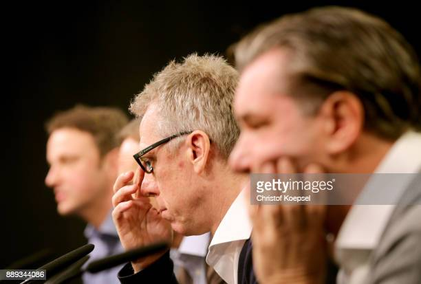 Head coach Peter Stoeger is presented as the new head coach of Dortmund during the press conference at Signal Iduna Park on December 10 2017 in...