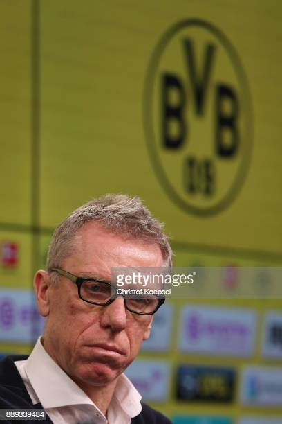 Head coach Peter Stoeger is presentet as the new head coach during the press conference at Signal Iduna Park on December 10 2017 in Dortmund Germany