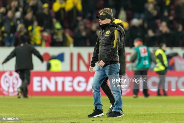 Head coach Peter Stoeger of Dortmund and Assistant coach Joerg Heinrich of Dortmund look on after the Bundesliga match between 1 FSV Mainz 05 and...
