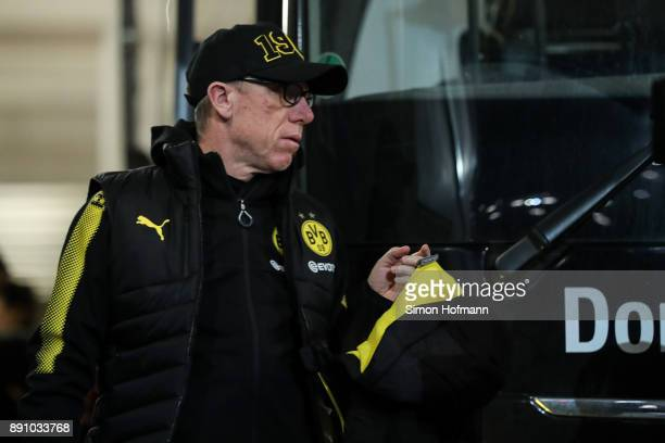 Head coach Peter Stoeger of Dortmund arrives prior the Bundesliga match between 1 FSV Mainz 05 and Borussia Dortmund at Opel Arena on December 12...