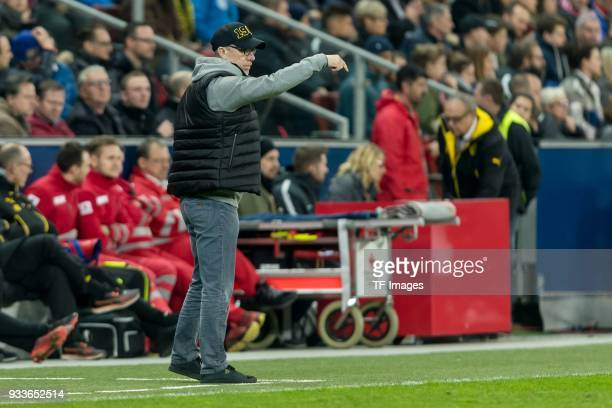Head coach Peter Stoeger of Dortmund gestures during UEFA Europa League Round of 16 second leg match between FC Red Bull Salzburg and Borussia...
