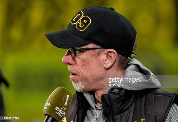 Head coach Peter Stoeger of Dortmund gives an interview prior to UEFA Europa League Round of 16 second leg match between FC Red Bull Salzburg and...